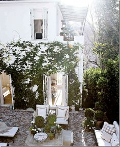boxwoods, whitewashed brick, loveliness