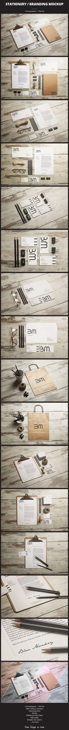 Stationery / Branding Mockup by BlueMonkeyLab , via Behance