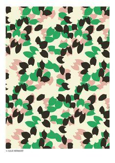 Floral pattern by julie hermant Motifs Textiles, Textile Patterns, Textile Prints, Flower Patterns, Print Patterns, Abstract Flowers, Abstract Shapes, Flower Silhouette, Motif Floral