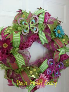 Pink and Green Butterfly Summer Deco Mesh Wreath- http://www.facebook.com/decomeshcrazy