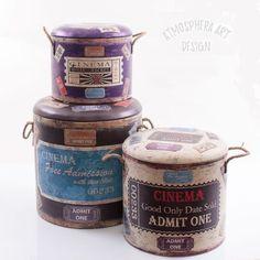 Pouf contenitore bidone in legno stampo CINEMA Vintage Shabby chic SET 3 PZ