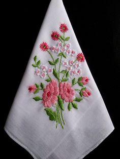 Embroidered vintage hanky vintage handkerchief by HooksAndRoses, $15.00