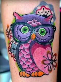 Nerdy Owl tattoo (pinks and purples)