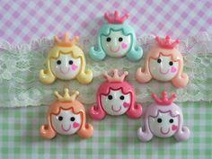 6 pcs Princess Cabochon girls Ladies Cabochon Mixed  by forestdiy