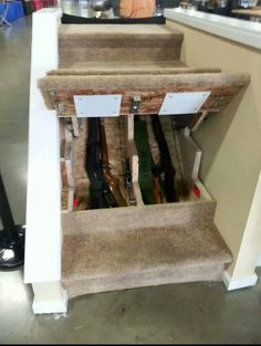 Hidden gun storage under the stairs.
