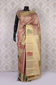 #Beige & #gold pure kanchipuram silk #amazing saree with gold multicoloured border-SR11415