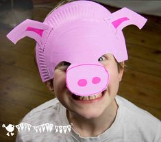 Adorable, easy to make, paper plate pig masks for the dressing up box. I love that they sit on the forehead as some kids don't like wearing full face masks and it makes it much easier for glasses wearers too.