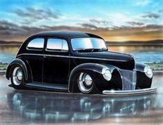 1940 Ford Standard 2 Door Sedan Art Print Black 11x14 - Parry Johnson Art