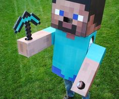 Steve Costume This seems like it might have the best instructions for Minecraft Steve Costume. To get the correct sizes.This seems like it might have the best instructions for Minecraft Steve Costume. To get the correct sizes. Steve Minecraft, Minecraft Party, Minecraft Crafts, Mine Minecraft, Minecraft Mask, Minecraft Steve Halloween Costume, Minecraft Costumes, Diy Halloween Costumes, Halloween Crafts