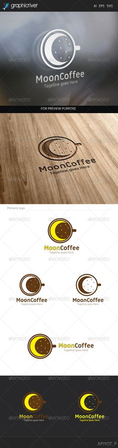 Moon Coffee Logo by Aestro Moon Coffee Logo design for creative studio company. Featured:AI Document EPS 10 Document PDF Document Vector (Re-si Vector Design, Logo Design, Sweet Moon, Moon Logo, Cafe Logo, Ecommerce Logo, Logo Food, Logo Images, Banner Template