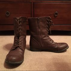 Brown Rampage Combat Boots These are very nice brown combat boots! I've worn 2-3 times max and they are in great condition- no stains, tears, or rips! I don't wear them anymore so just looking to get them out of my closet! :) Rampage Shoes Combat & Moto Boots