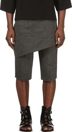 Thamanyah Grey Linen Blend Crisscross Draped Trousers
