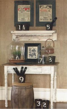 burlap wall---I love this idea.  The color and the texture would fit nicely in the new place.