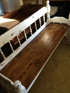 Full size headboard bench.   I like the natural seat with the painted back & sides
