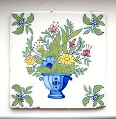Antique Victorian Art Nouveau Ceramic Tile