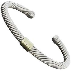 Preowned David Yurman Silver Gold Cable Classics Station Cuff Bracelet ($350) ❤ liked on Polyvore featuring jewelry, bracelets, multiple, 14k bangle, gold cuff bangle bracelet, silver cuff bracelet, cuff bracelet and gold cuff bracelet