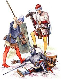 • North italian infantryman, mid-14th century  • North italian crossbowman, mid-14th century  • Venetian infantryman, first half 14th century