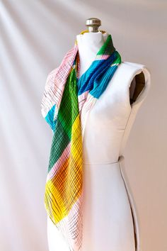 1950's Silk Scarf  Color Block Rockabilly by PomegranateVintage, $25.00