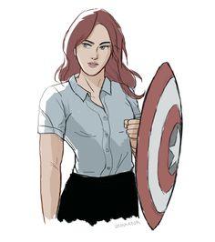 Steve & Natasha [Romanogers] — zhaana:   Nat plus Cap's shield; just because
