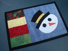 Holiday Snowman Recycled Denim Mug Rug by BackPocketDesign on Etsy, $14.00