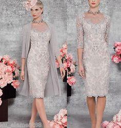 Plus-Size-Knee-Length-Applique-Mother-of-Bride-Suit-Jacket-Wedding-Outfit-Dress