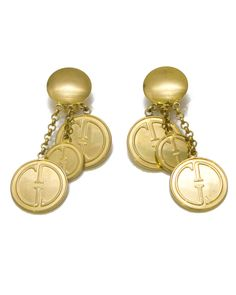 Super rare dangly coin style earrings with classic Gucci logo on each hanging coin. Cascade style, Clip backs. In excellent condition.