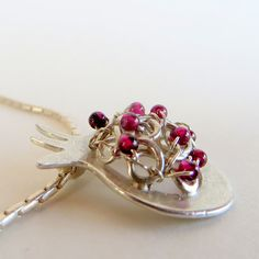 Pomegranate Necklace with garnet beads Sterling by LulyJewelry, $109.00