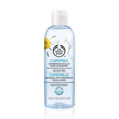 Eye Makeup Removers: The Body Shop - Camomile Waterproof Eye & Lip Make-Up Remover doesn't contain much chamomile, but is in fact an excellent lotion-type eye-makeup remover for all skin types. It works swiftly to remove even stubborn waterproof mascara, and is fragrance-free. This is best applied before washing with a water-soluble cleanser.