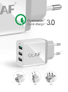 OLAF 3 USB Ports USB Charger Universal Quick Charge 3.0 Fast Mobile Phone Charger(Quick Charge 2.0 Compatible) for Samsung Phone , https://myalphastore.com/products/olaf-3-usb-ports-usb-charger-universal-quick-charge-3-0-fast-mobile-phone-chargerquick-charge-2-0-compatible-for-samsung-phone/,