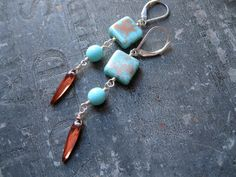 Turquoise Blue Copper Color Czech Glass Dangle by studioCjewelry