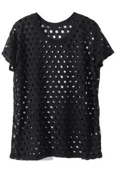 #ROMWE. ROMWE   Black Shredded T-shirt, The Latest Street Fashion
