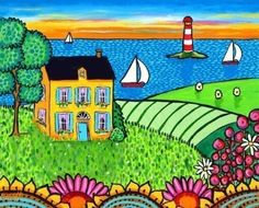Nova Scotia Sunset Cottage by Alice in Paris (Shelagh Duffett) Nova Scotia, Cottage Art, Naive Art, Artist Gallery, Aboriginal Art, Whimsical Art, Artist Painting, New Art, Amazing Art