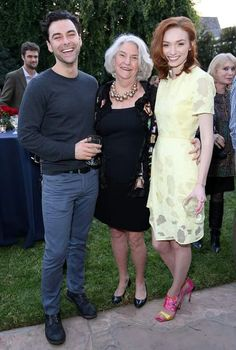 Aidan Turner (Ross Poldark), producer Rebecca Eaton and Eleanor Tomlinson (Demelza) having Afternoon Tea at the British Consulate celebrating the release of Wolf Hall. January 18, 2015 in Los Angeles. #Poldark (2015) #WinstonGraham #PoldarkPBS