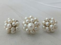 Fine pair of Art Deco cultured Pearl 14ct gold cluster earrings & matching ring