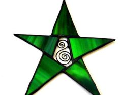 GREEN Glass STAR, picture only