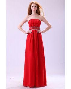 Red Strapless Chiffon Long Prom Dress | LynnBridal.com
