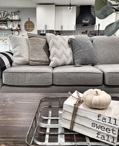 """35 Cheap Summer Decor Ideas For Your Apartment - Decorating can be just like picking an outfit to wear. Seasons can effect what is """"in"""" and what is """"out."""" So don't get caught off guard this Spring/Su. Living Room Pillows, Living Room Grey, Home Living Room, Grey Sectional, Grey Couches, Leather Sectional, Grey Couch Decor, Charcoal Couch, Pillos"""