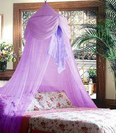 Purple Chiffon Furbelow Princess Bed Canopy By SID