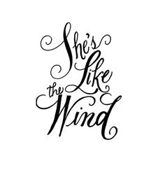 She's like the wind calligraphy rubber stamp by terbearco on Etsy, $22.99