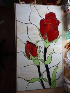 Rozen Tiffany stijl gekleurd glaspaneel van ArtesanaPL op Etsy
