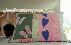 Almofada patchwork corações e borboletas