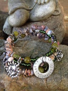 Choose to Bloom three wrap memory wire beaded by DFInspirations, $30.00
