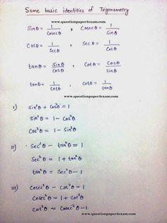SSC EXAM TRIGONOMETRY BASIC CONCEPTS - QUESTION PAPER Maths Formulas List, Algebra Formulas, Basic Physics Formulas, Math Tutorials, Maths Tricks, Math Formula Sheet, Trigonometry Worksheets, Math Charts, Maths Solutions