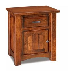 Wide Amish Timbra 1 Drawer, 1 Door Nightstand Store items bedside in the Timbra. Solid wood construction. Available in a variety of premium quality hardwoods. Made in Amish country. #nightstands #bedroomfurniture
