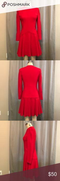 Vintage Red Dress Flattering a-line. Dresses Long Sleeve