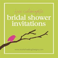 Free Customizable Bridal Shower Invitations are perfect for any beautiful bride. Use for a wedding shower, wedding brunch or save the date card | www.MoritzFineBlogDesigns.com