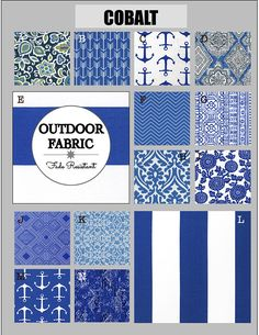 OUTDOOR Cushions- Outdoor Pillows- Outdoor Fabric- Box Cushions- Deck Cushions- Patio Cushions- Chair Cushions- COBALT Outdoor Chair Cushions, Outdoor Fabric, Glider Rocker Cushions, Sofa Pillow Covers, Pillows, Leather Dining Room Chairs, Fabric Boxes, Custom Cushions