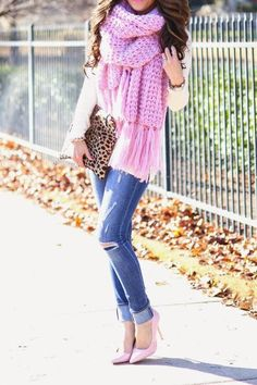 Pink Knit Oversized Scarf