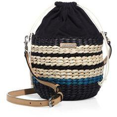 Rebecca Minkoff Mini Straw Basket Crossody Bag ($195) ❤ liked on Polyvore featuring bags, handbags, shoulder bags, mini shoulder bag, pink purse, straw shoulder bag, pink drawstring bags and shoulder handbags