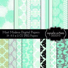 Elegant Mint Modern Damask Digital Papers for Digital Scrapbooking, Cards & Paper Goods.